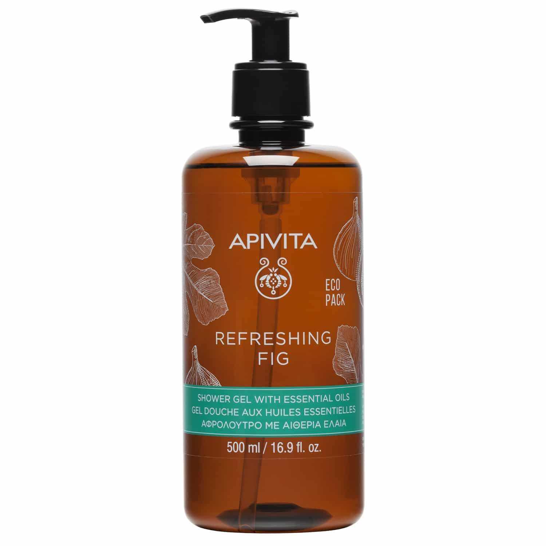 Apivita Refreshing Fig Shower Gel Eco Pack Αφρόλουτρο με Σύκο & Αιθέρια Έλαια για Ήπιο Καθαρισμό & Αίσθηση Δροσιάς 500ml