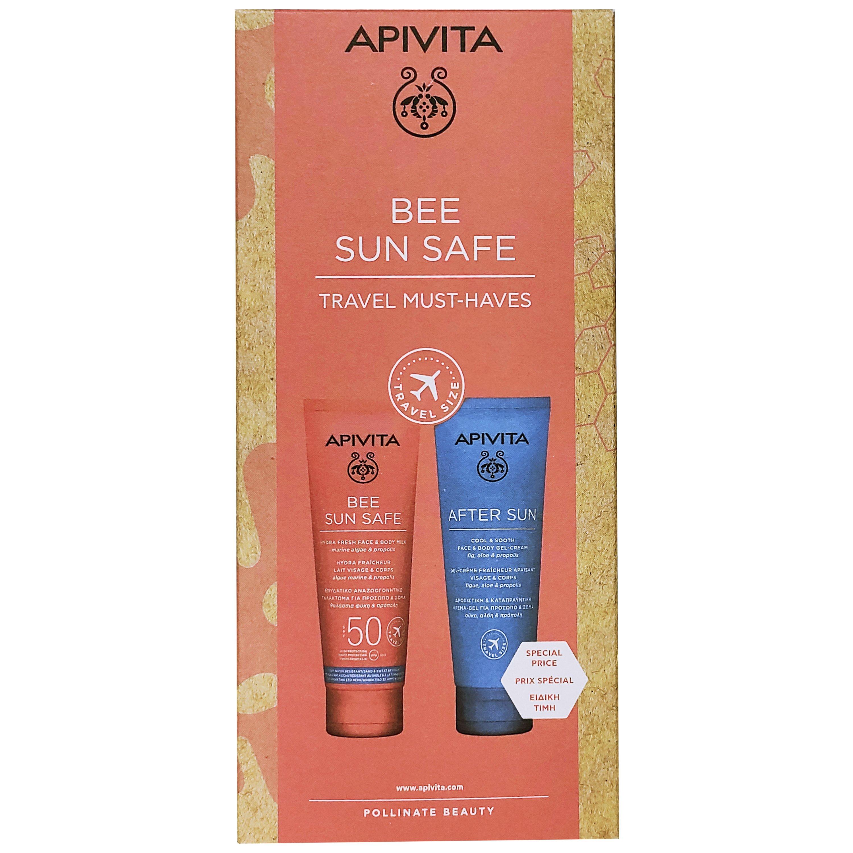 Apivita Bee Sun Safe Travel Must-Haves Hydra Fresh Face & Body Milk 100ml & After Sun Cool & Sooth Face & Body Gel-Cream 100ml