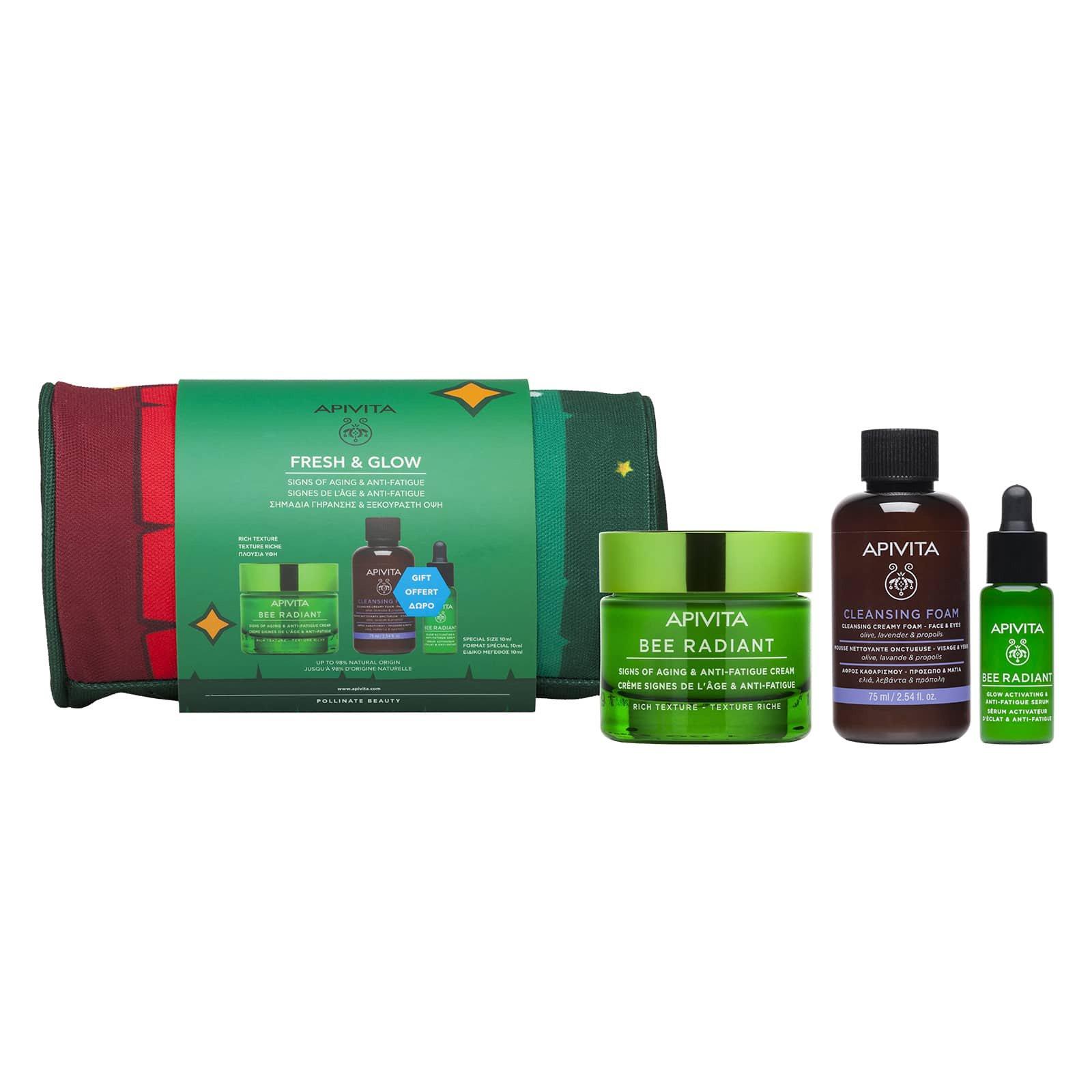 Apivita Promo Bee Radiant Rich Cream 50ml & Δώρο Cleansing Foam Face & Eyes 75ml, Bee Radiant Glow Activating Serum 10ml