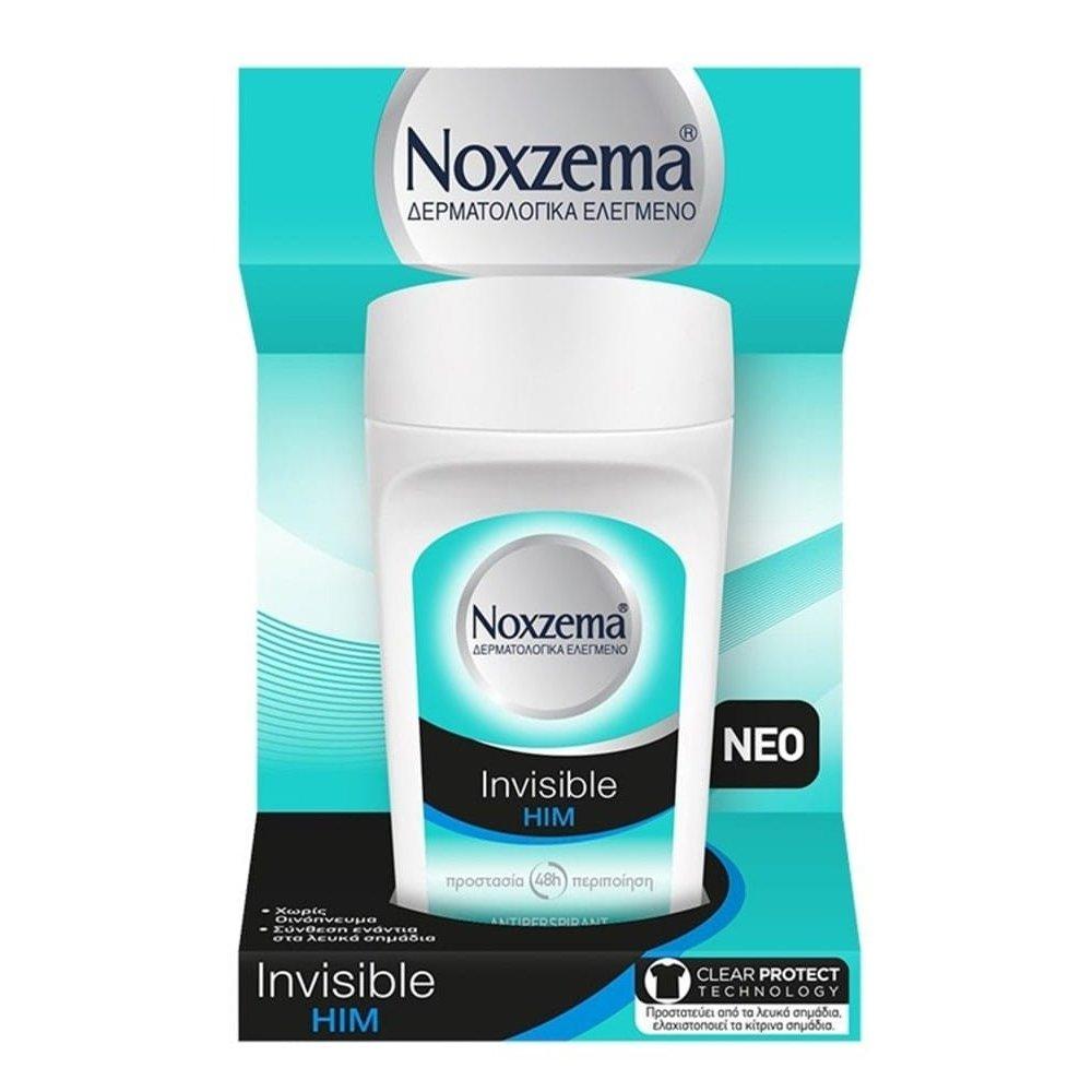 Noxzema Deo Roll-On Invisible Him Ανδρικό Αποσμητικό Κατά των Λευκών Σημαδιών 50ml
