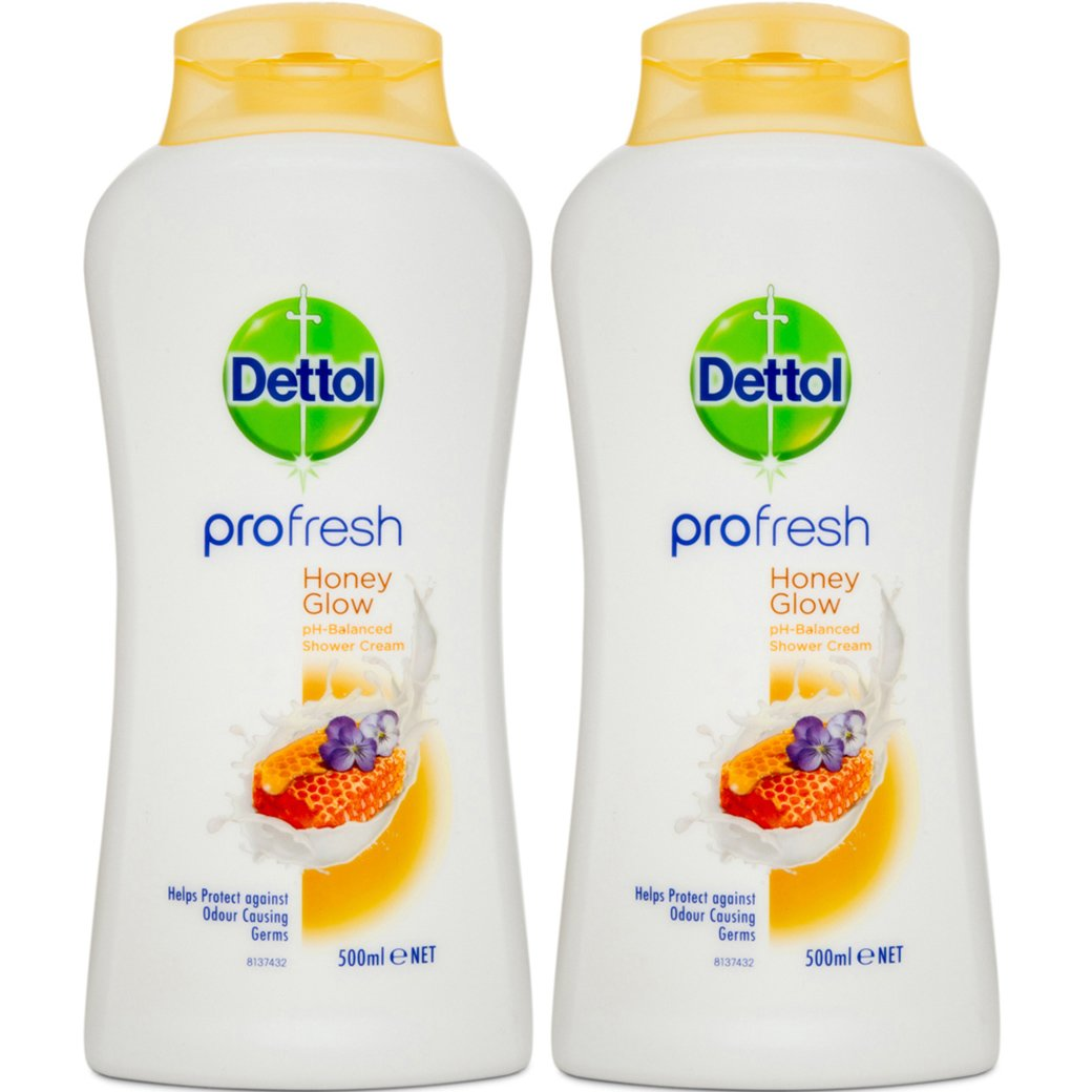 Dettol Profresh Honey Glow Απαλό Κρεμοντούς Ουδέτερο Ph,Προστασία Ενάντια στα Βακτηρίδια που Προκαλούν Κακοσμία 2x500ml 1+1 Δώρο
