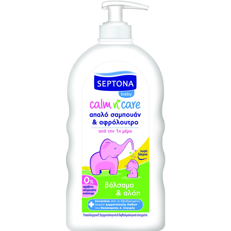 Septona Baby Calm n' Care Βρεφικό Απαλό Σαμπουάν & Αφρόλουτρο με Βάλσαμο & Αλόη 500ml