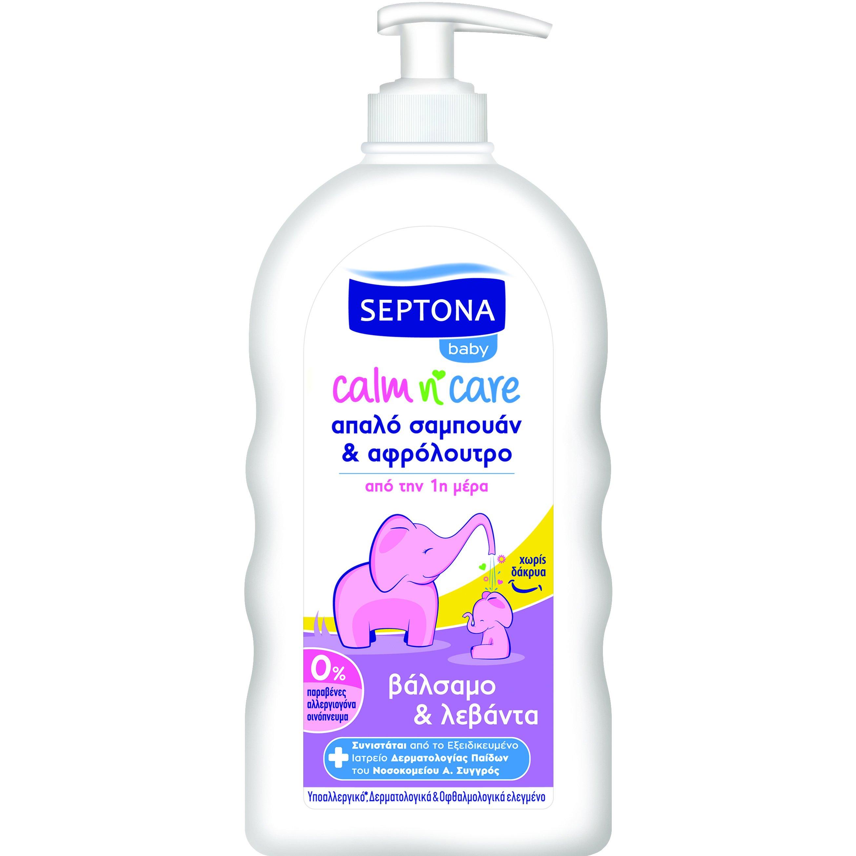 Septona Baby Calm n' Care Βρεφικό Απαλό Σαμπουάν & Αφρόλουτρο με Βάλσαμο & Λεβάντα 500ml