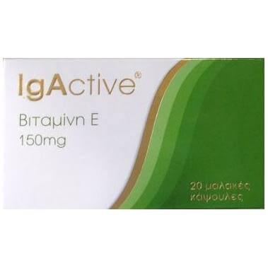 Igactive Vitamin E Συμπλήρωμα Διατροφής με Βιταμίνη E 150mg 20 μαλακές κάψουλες