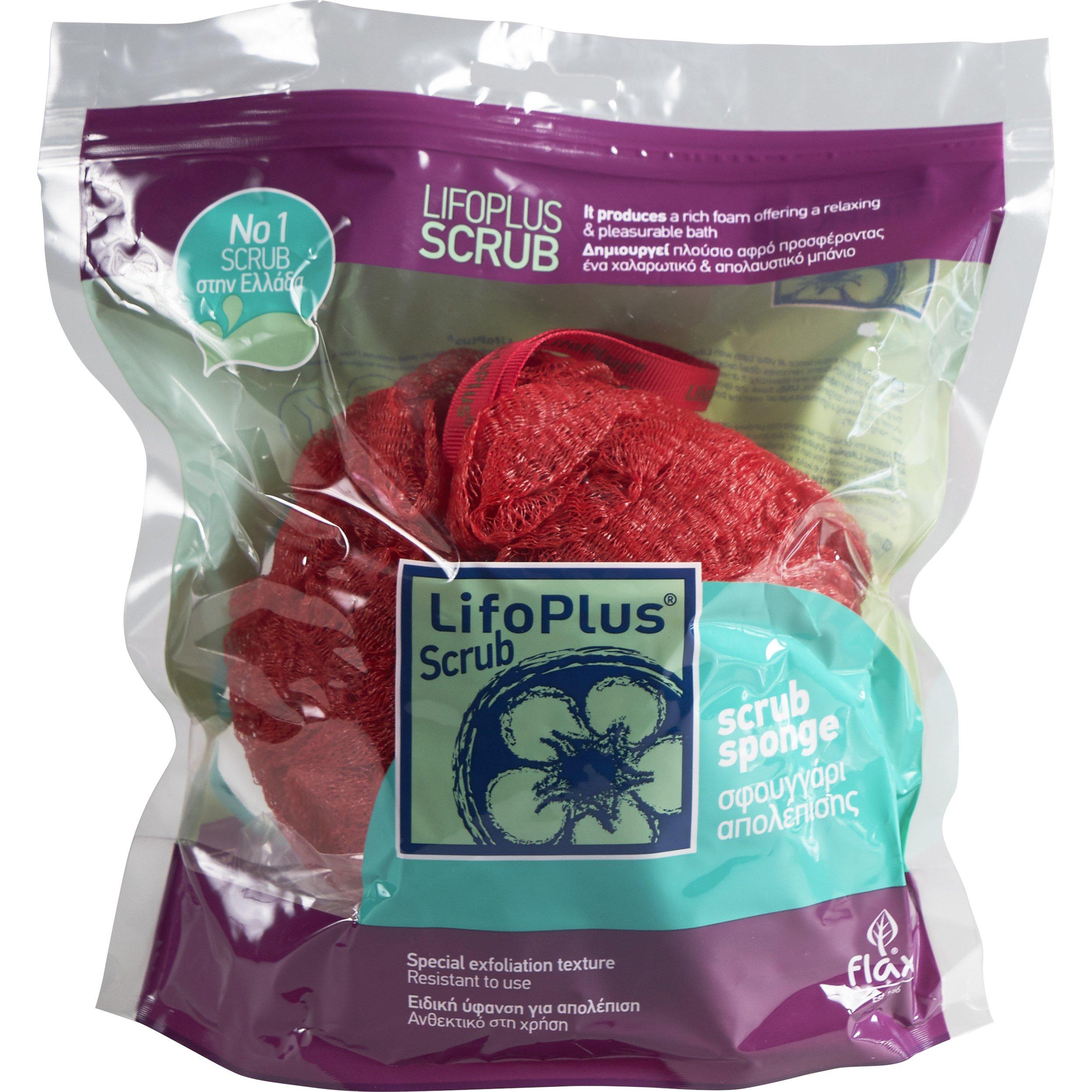 Lifoplus Scrub Σφουγγάρι Απολέπισης Κόκκινο 1 Τεμάχιο