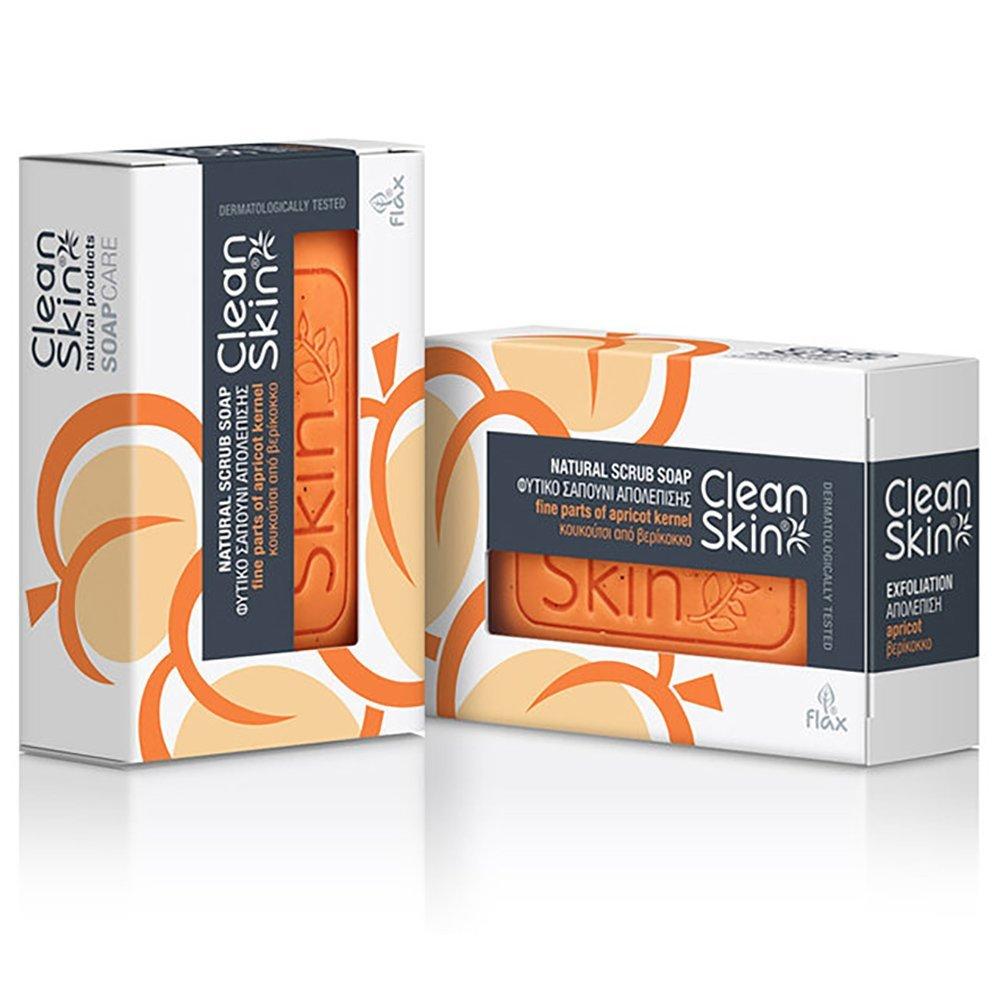 Clean Skin Promo Natural Scrub Soap Φυτικό Σαπούνι Σώματος για Απολέπιση με Κουκούτσι Από Βερίκοκο 100gr -40%