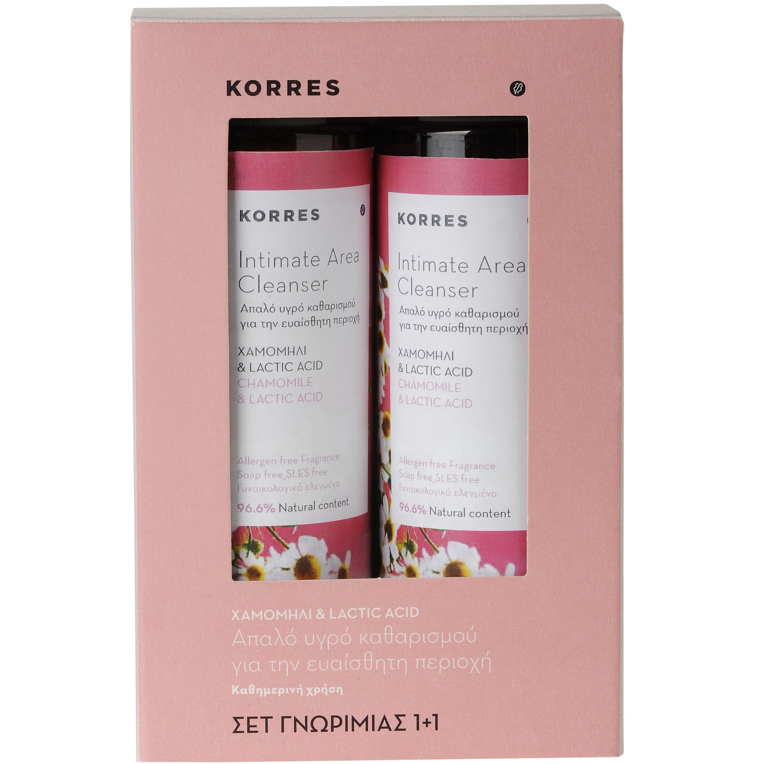 Korres Πακέτο Προσφοράς Intimate Area Cleanser Με Χαμομήλι & Lactic Acid για την Ευαίσθητη Περιοχή 1+1 Δώρο 2x250ml