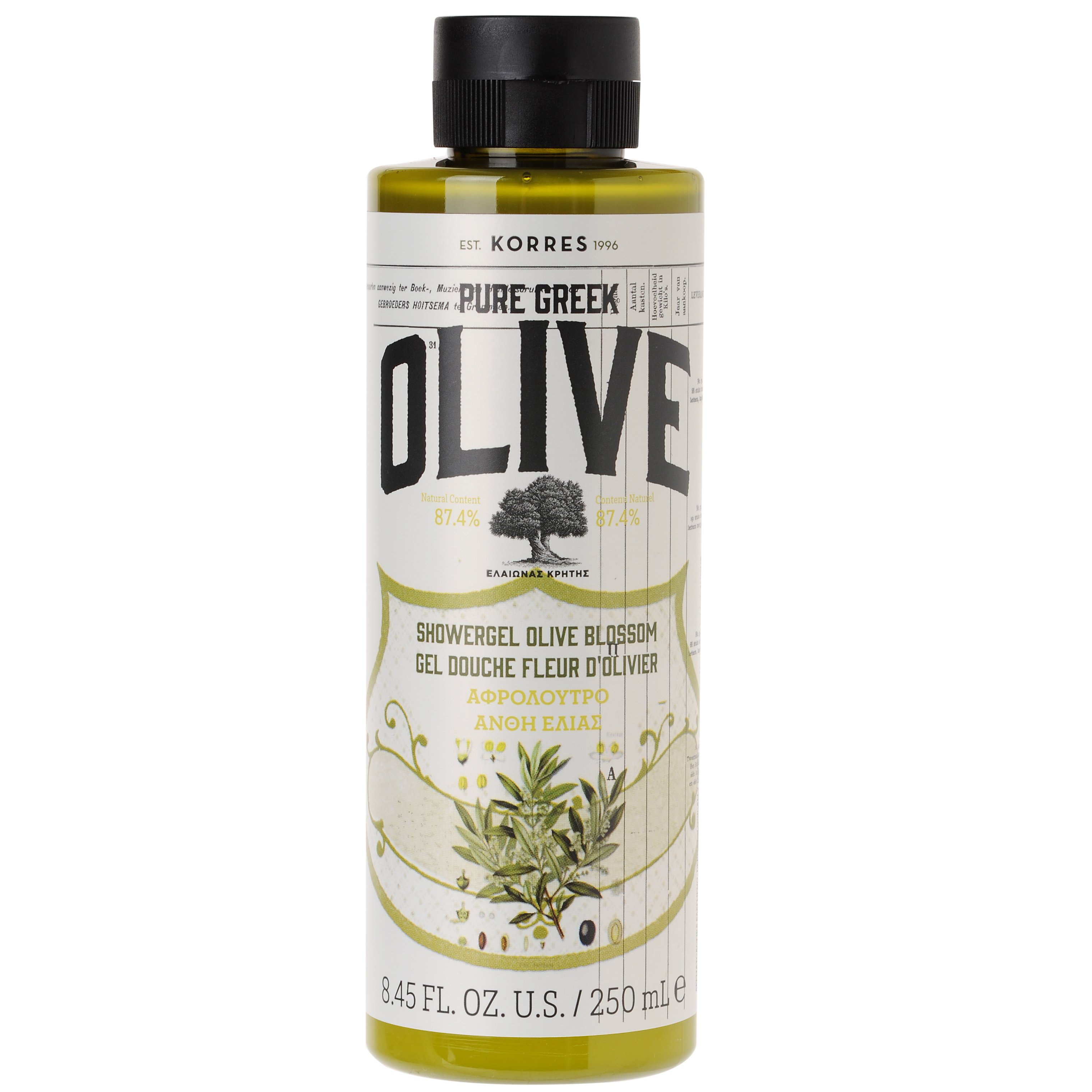 Korres Pure Greek Olive Shower Gel Olive Blossom Αφρόλουτρο με Τονωτικό Εκχύλισμα ΑπόΆνθη Ελιάς 250ml
