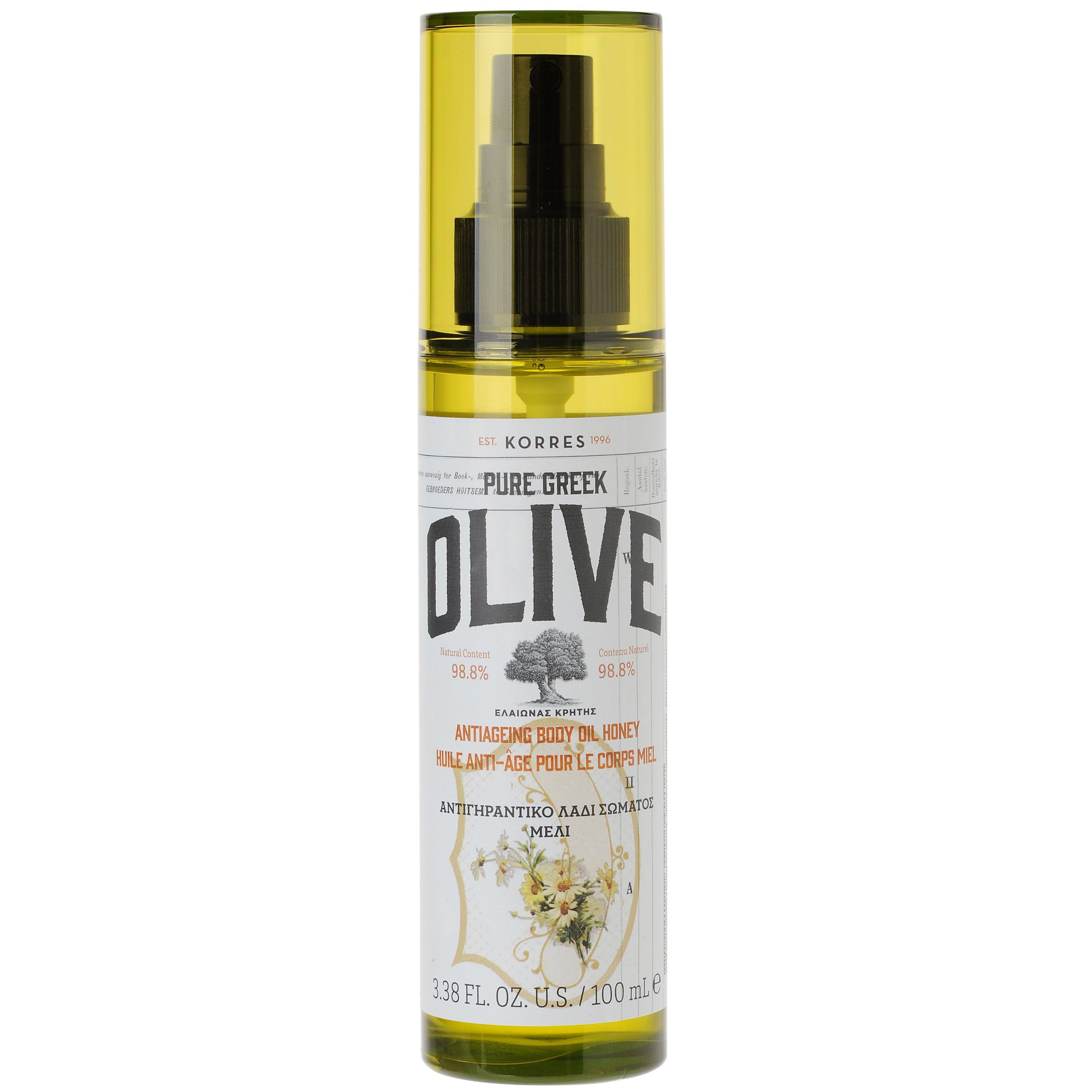 Korres Pure Greek Olive Antiageing Body Oil Honey Αντιγηραντικό, Εξαιρετικά Ενυδατικό Ξηρό Λάδι Σώματος με Άρωμα Μέλι 100ml