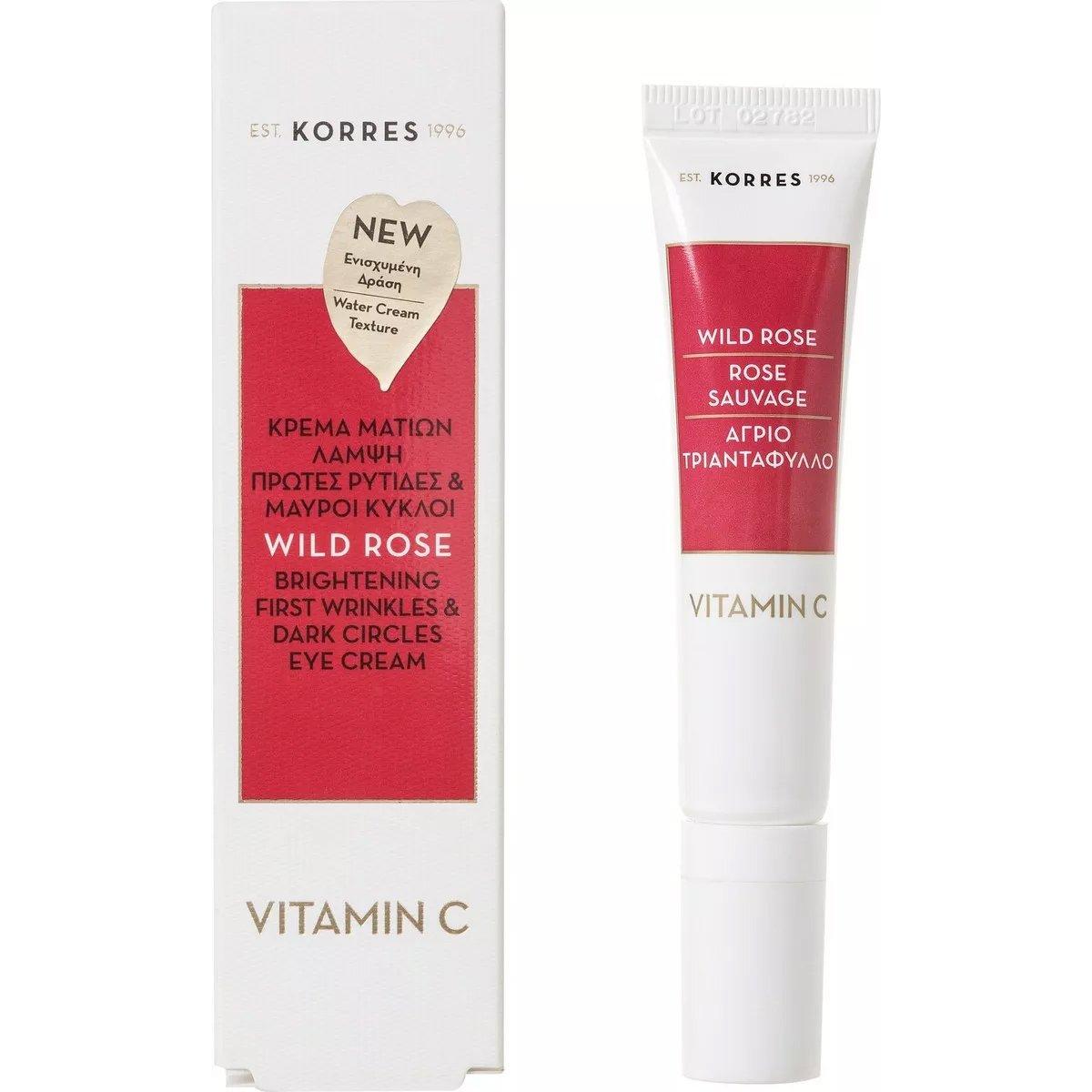 Korres Wild Rose Eye Cream With Vitamin C Κρέμα Ματιών Άγριο Τραντάφυλλο, για Λάμψη, Λεπτές Γραμμές & Μαύρους Κύκλους 15ml