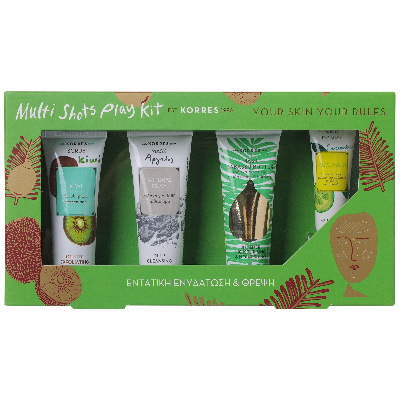 Korres Multi Shots Play Kit Scrub Ακτινίδιο18ml,Μάσκα με Άργιλο 18ml,Μάσκα Θρέψη προσφορές   σετ περιποίησης προσώπου   σετ καθαρισμού προσώπου   απολέπισης   μά