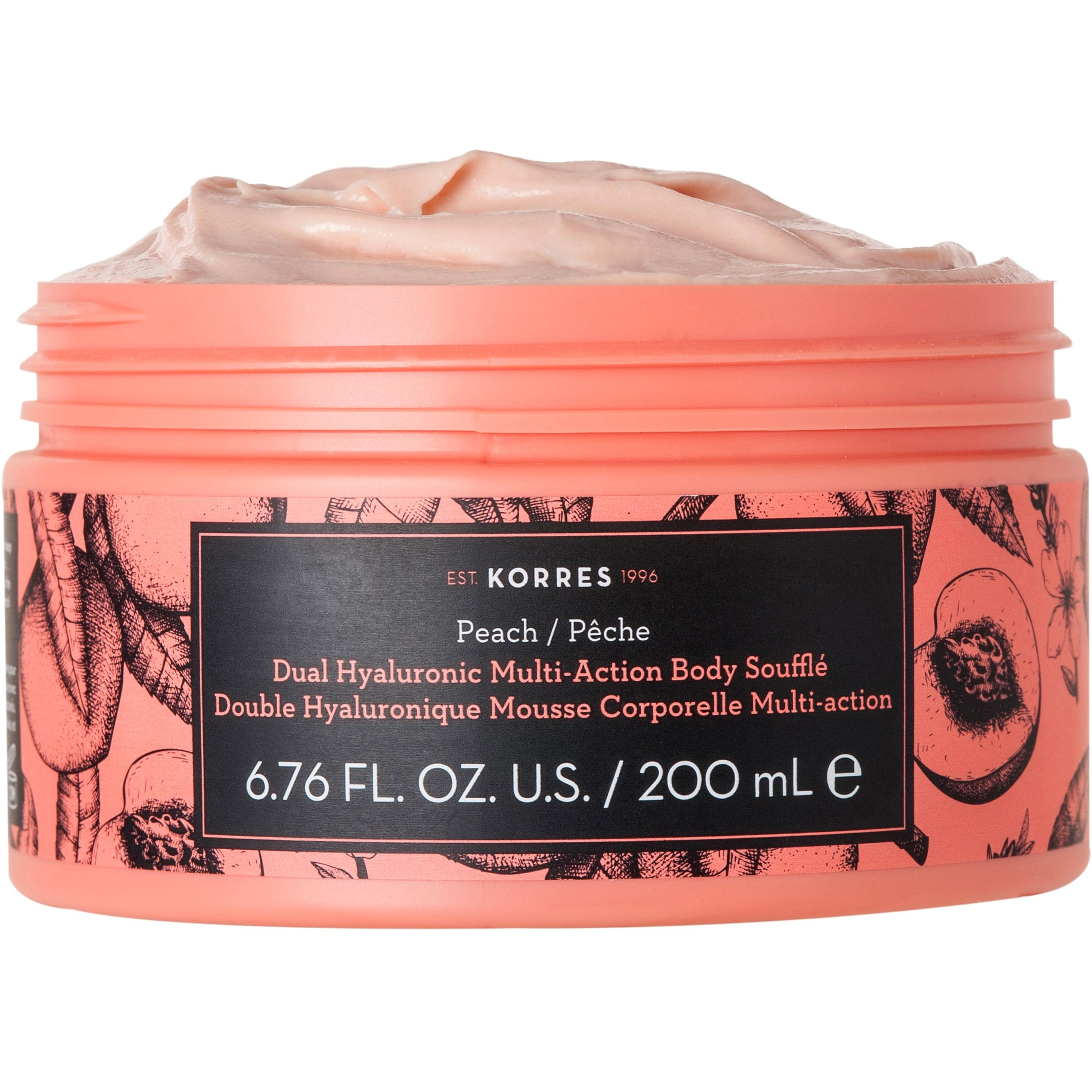 Korres Dual Hyaluronic Multi Action Body Souffle με Διπλό Υαλουρονικό Άρωμα Peach 200ml