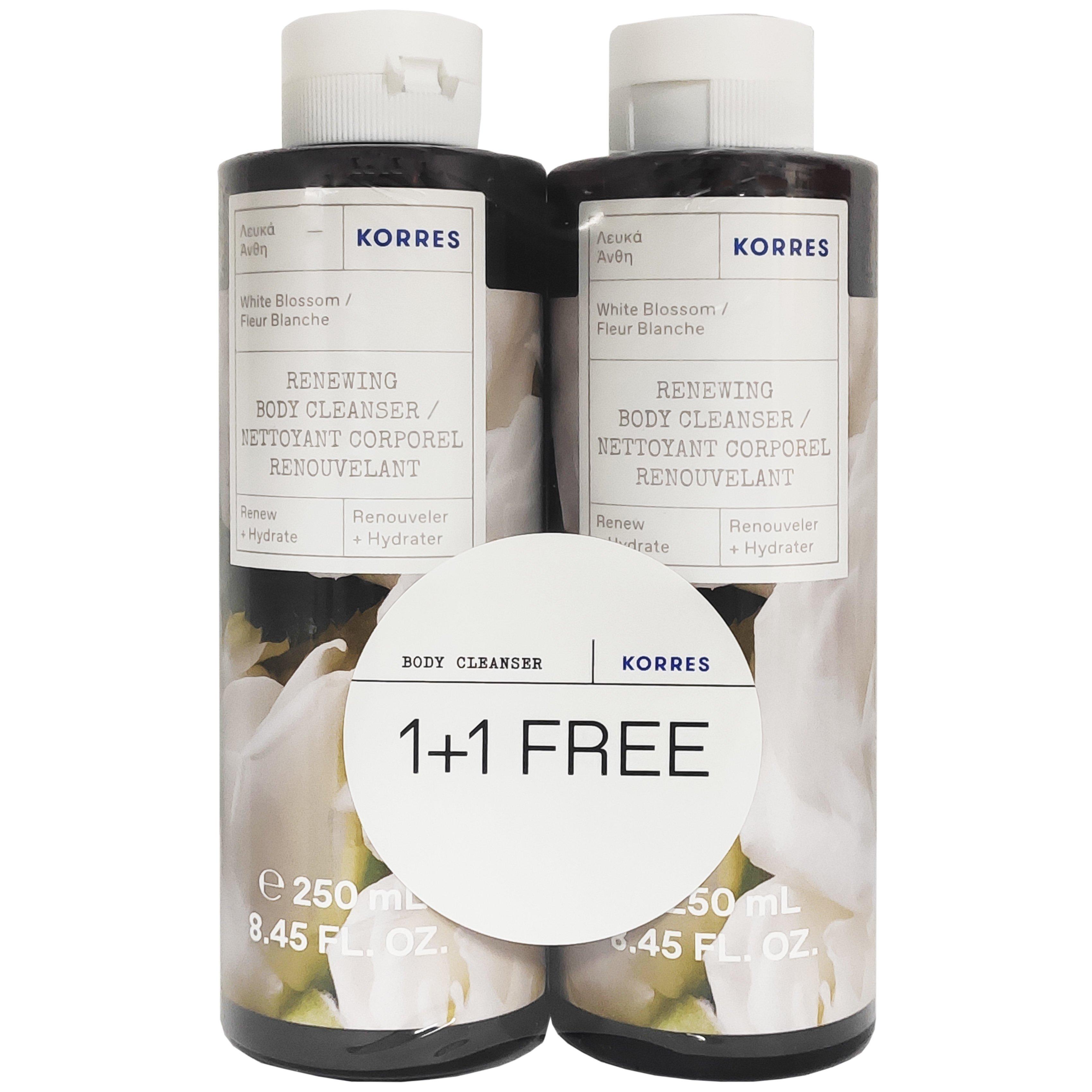 Korres Πακέτο Προσφοράς Showergel White Blossom Αφρόλουτρο με Νότες Από Λευκά Άνθη Περγαμόντο με Άρωμα Πούδρας 1+1 Δώρο 2x250ml