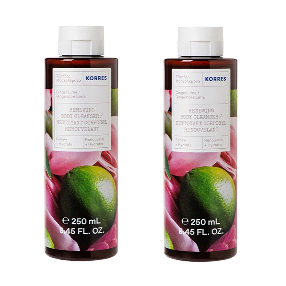 Korres Πακέτο Προσφοράς Renewing Body Cleanser with Ginger & Lime Αφρόλουτρο με Νότες Από Lime και Ginger 1+1 Δώρο 2x250ml