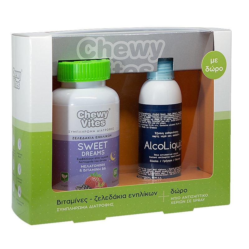Vican Πακέτο Προσφοράς Chewy Vites Adults Sweet Dream 60Ζελεδάκια & Δώρο AlcoLiquid Spray Ήπιο Αντισηπτικό Χεριών 150ml
