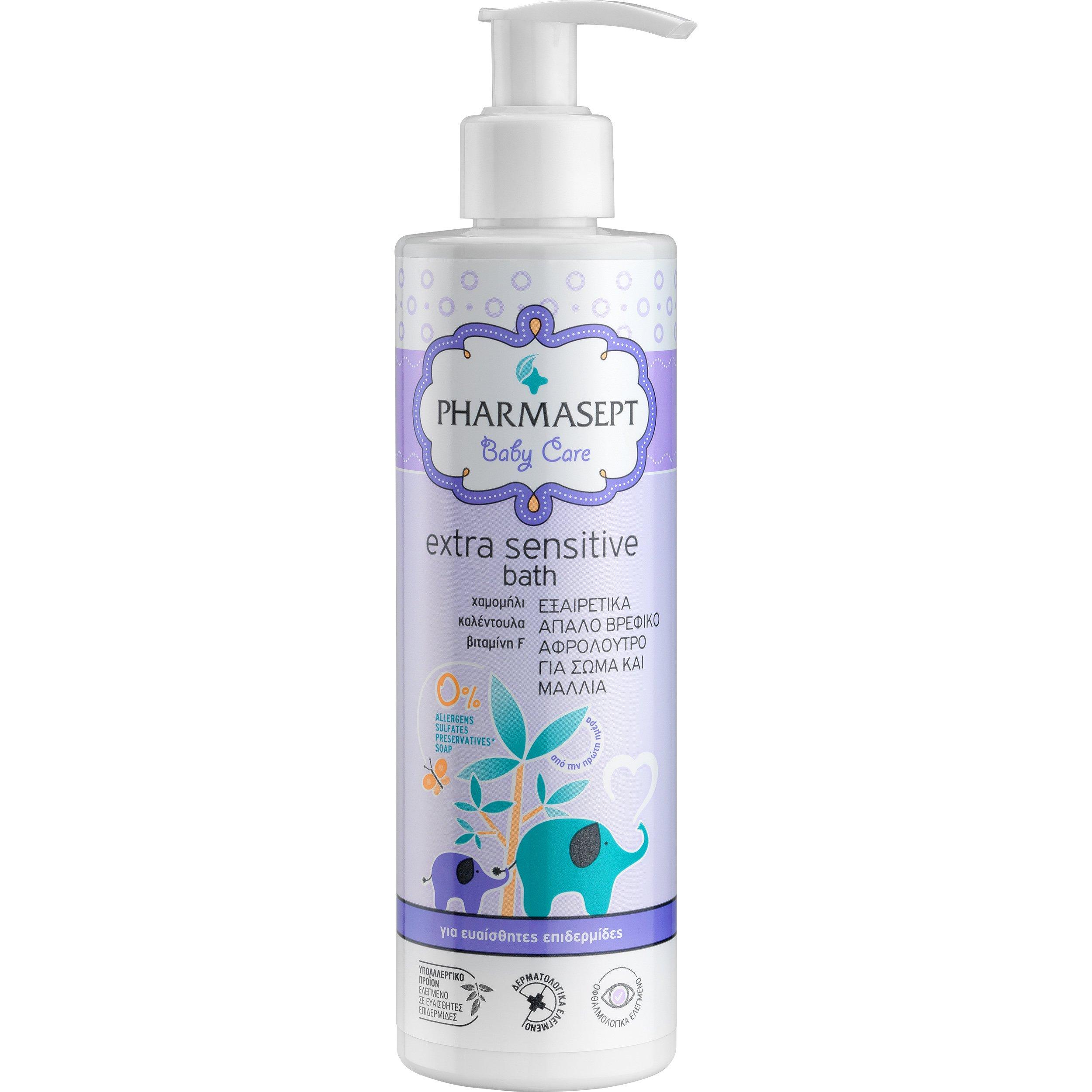 Pharmasept Baby Care Extra Sensitive Bath Πολύ Απαλό Βρεφικό Αφρόλουτρο για Σώμα & Μαλλιά 250ml