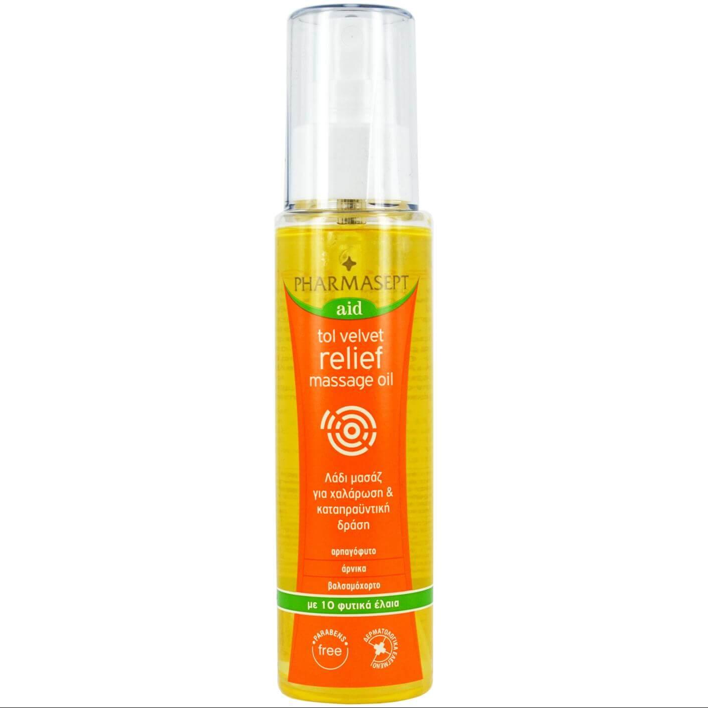 Pharmasept Aid Tol Velvet Relief Massage Oil Λάδι Μασάζ για Χαλάρωση & Καταπράυνση 100ml