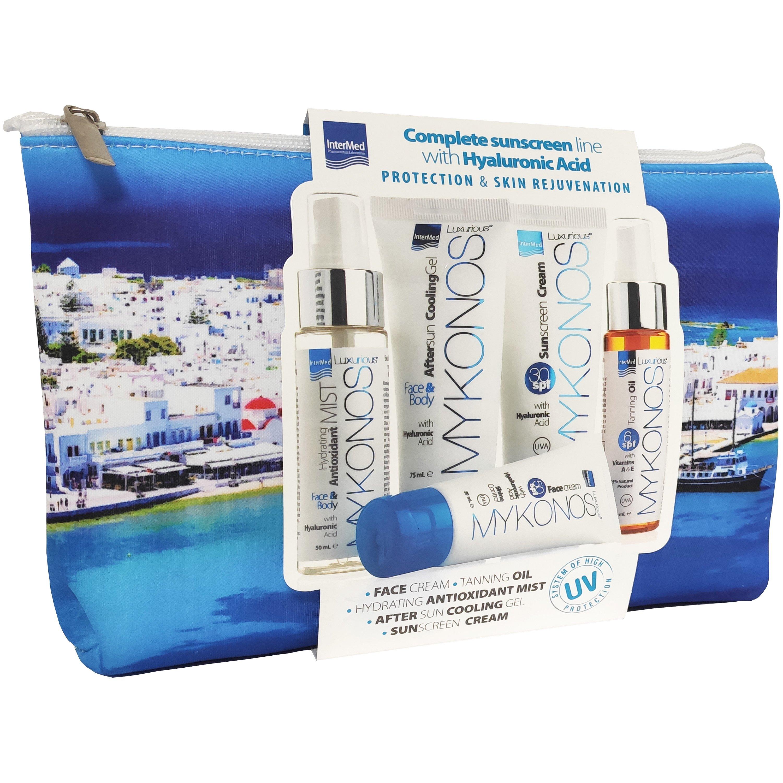 Luxurious Mykonos Travel Kit Σετ Ταξιδιού Αντηλιακής Προστασίας με 5 Mini Προϊόντα