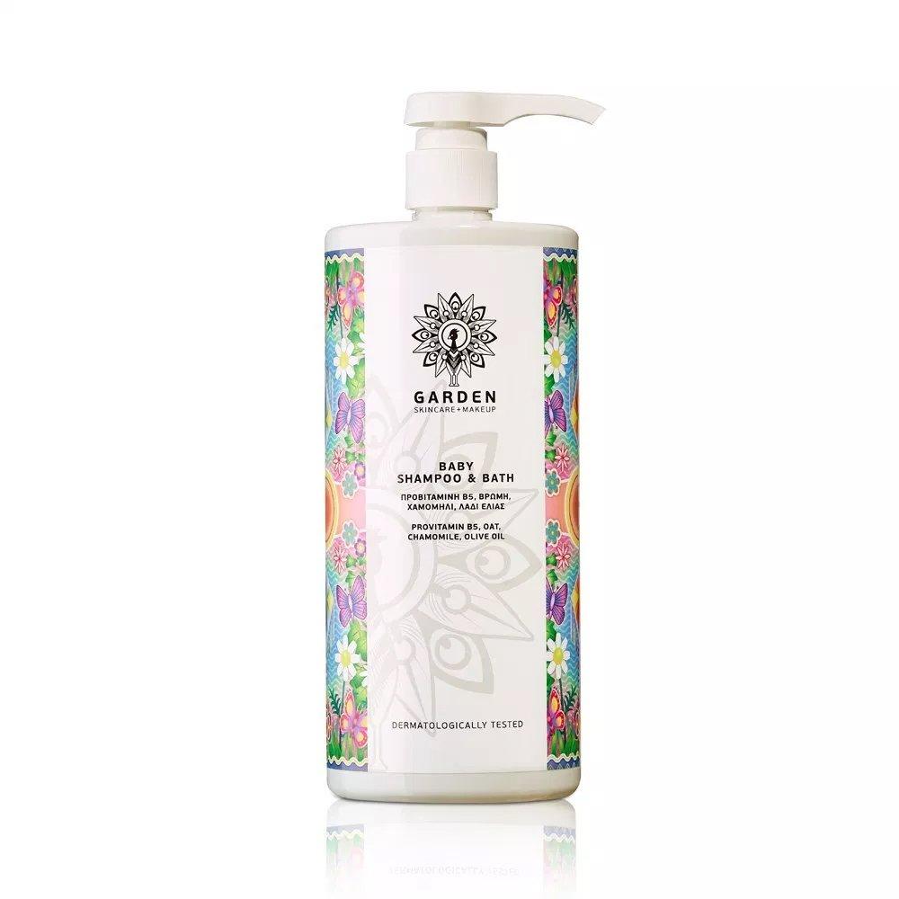 Garden of Panthenols Baby Shampoo & Bath Απαλό Βρεφικό Καθαριστικό με Πανθενόλη, Βρώμη, Χαμομήλι & Λάδι Ελιάς 1Lt