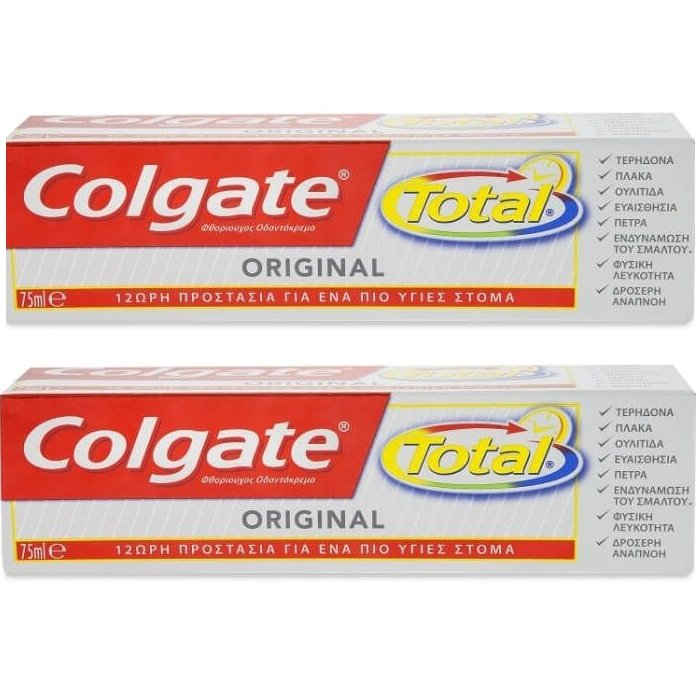 Colgate Total Original Οδοντόκρεμα Για Υγιές Στόμα 1+1 ΔΩΡΟ 2x75ml