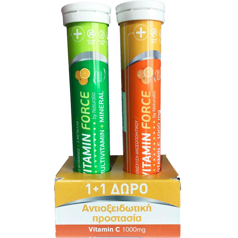 Naturalia Πακέτο Προσφοράς Vitamin Force Συμπλήρωμα Διατροφής Multivitamin +Mineral & Vitamin C 1000mg 2×20 Effer.Tabs 1+1 Δώρο