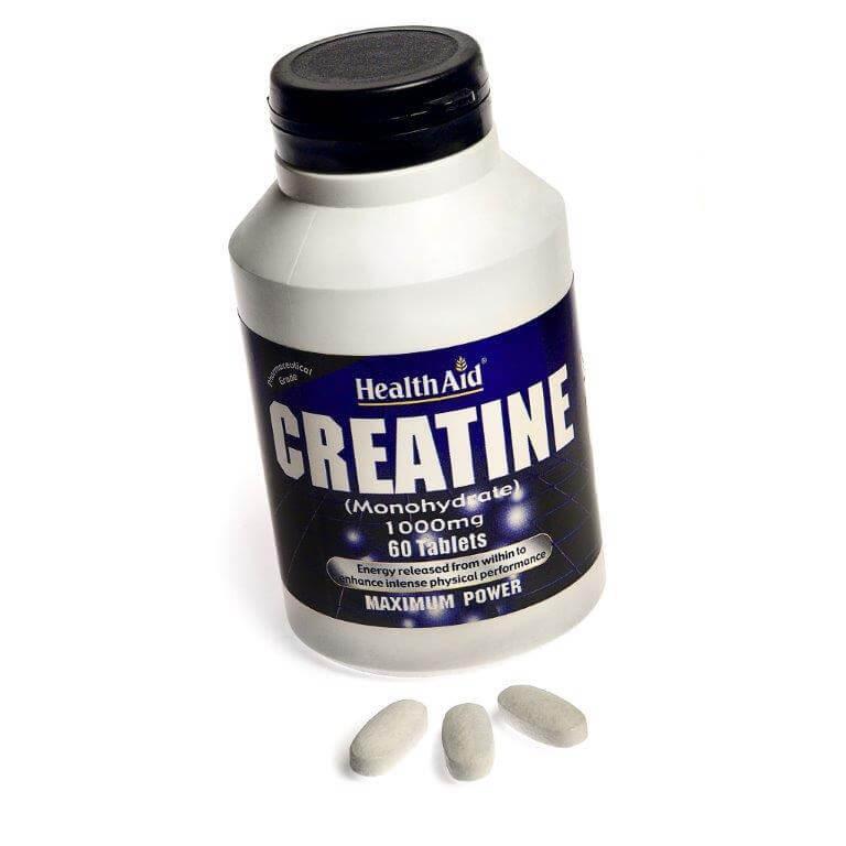 Health Aid Creatine Monohydrate Κρεατίνη Για Μυϊκή Μάζα 1000mg 60tabs