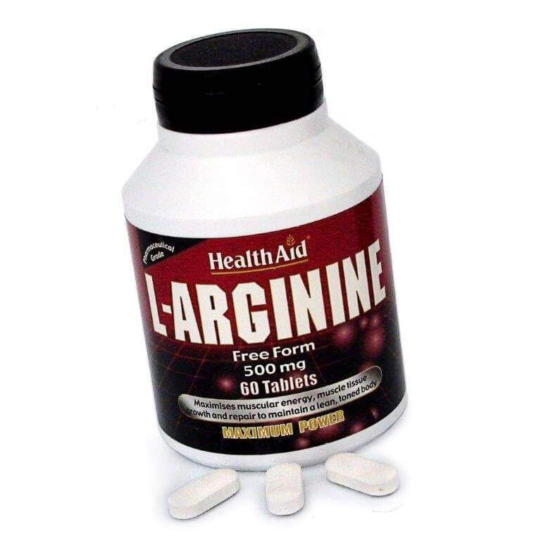 Health Aid L-Arginine Αργινίνη 500mg Για Παραγωγή Ενέργειας Στους Μύες 60tabs