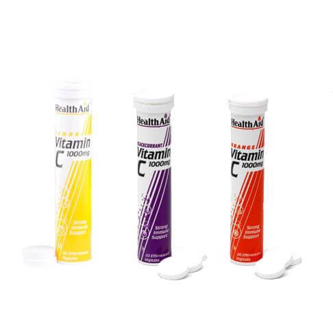 Health Aid VitaminC 1000mg 20 Αναβράζοντα Δισκία – Lemon
