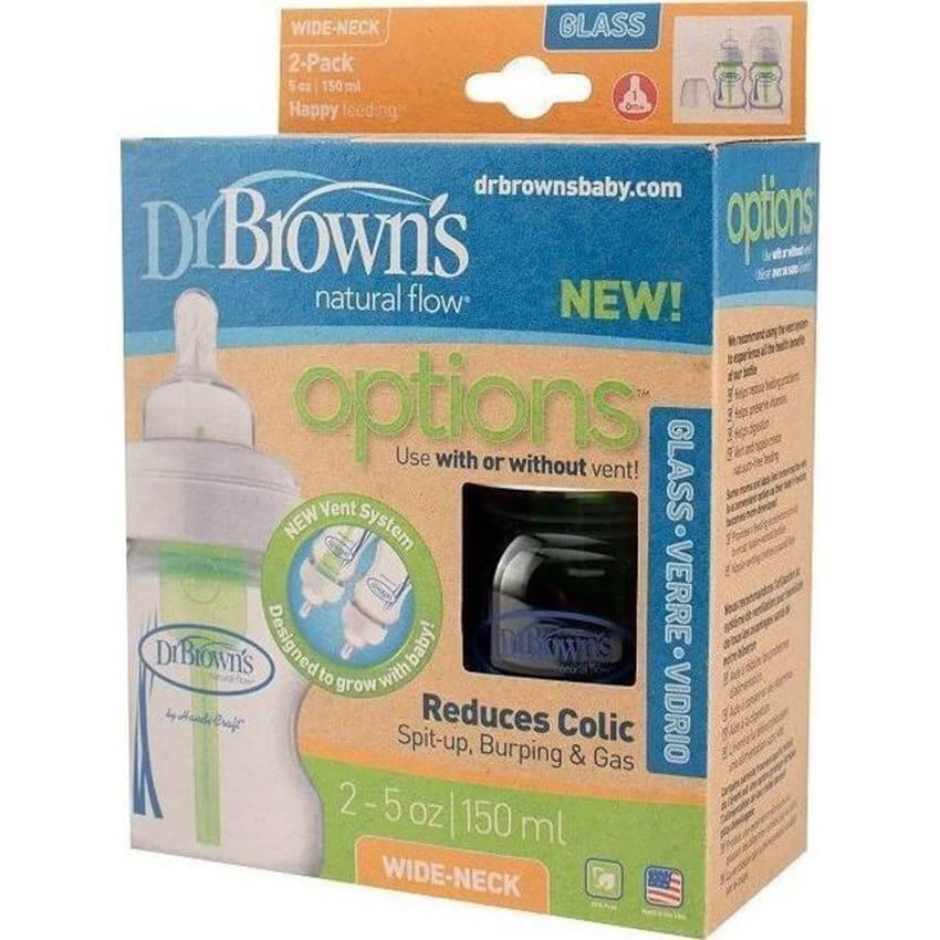 Dr. Browns Natural Flow Options Γυάλινα Μπιμπερό με Φαρδύ Λαιμό & Θηλή Σιλικόνης 0m+ 2Τμχ 150ML 16/WB 5200
