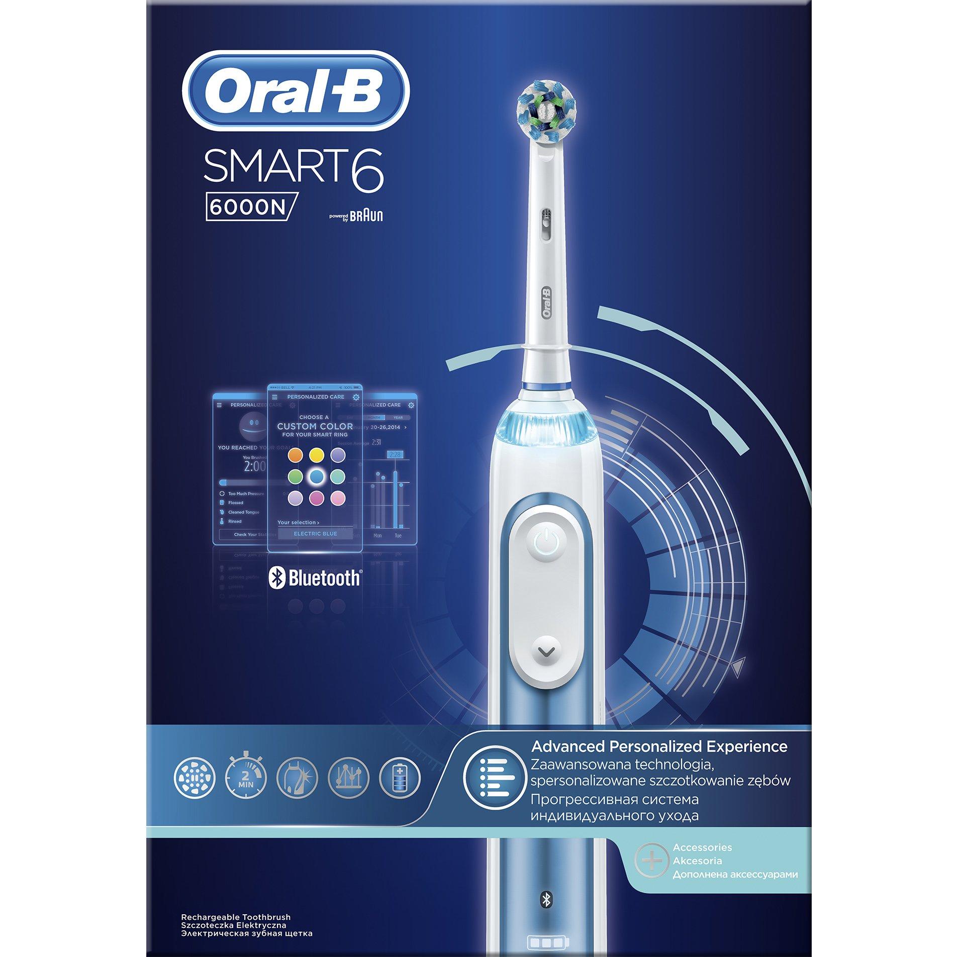 Smart 6 6000 N Ηλεκτρική Οδοντόβουρτσα – Oral-B,Προηγμένες Λειτουργίες & Λειτουργία Bluetooth για Σύνδεση με το Smartphone