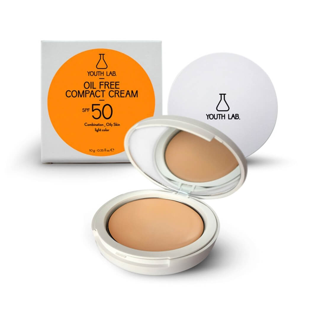 Youth Lab. Oil Free Compact Cream Spf50 Light Color Αντηλιακή Κρέμα σε Μορφή Compact Makeup για Μικτή – Λιπαρή Επιδερμίδα 10g