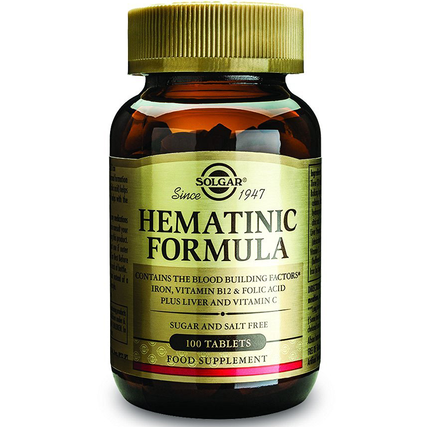 Solgar Hematinic Formula Συμπλήρωμα Διατροφής που Βοηθά στη Δόμηση του Αίματος & σε Διάφορες Καταστάσεις Αναιμίας 100 tablets