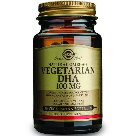 Solgar DHA Vegeterian100mg Συμπλήρωμα Διατροφής που Ενισχύει την Εγκεφαλική Λειτουργία & το Ανοσοποιητικό30 softgels