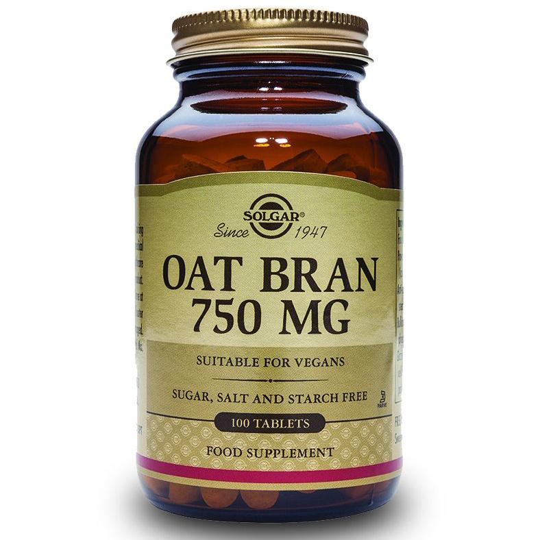 Solgar Oat Bran 750mg Συμλήρωμα Διατροφής για τον Έλεγχο της Χοληστερόλης & του Βάρους 100tabs