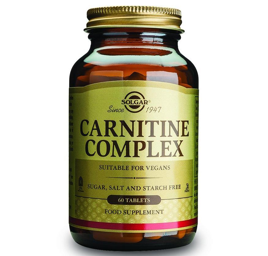 Solgar Carnitine Complex Συμπλήρωμα Διατροφής που Μεταφέρει τα Λιπαρά Οξέα για τη Παραγωγή Ενέργειας60tablets