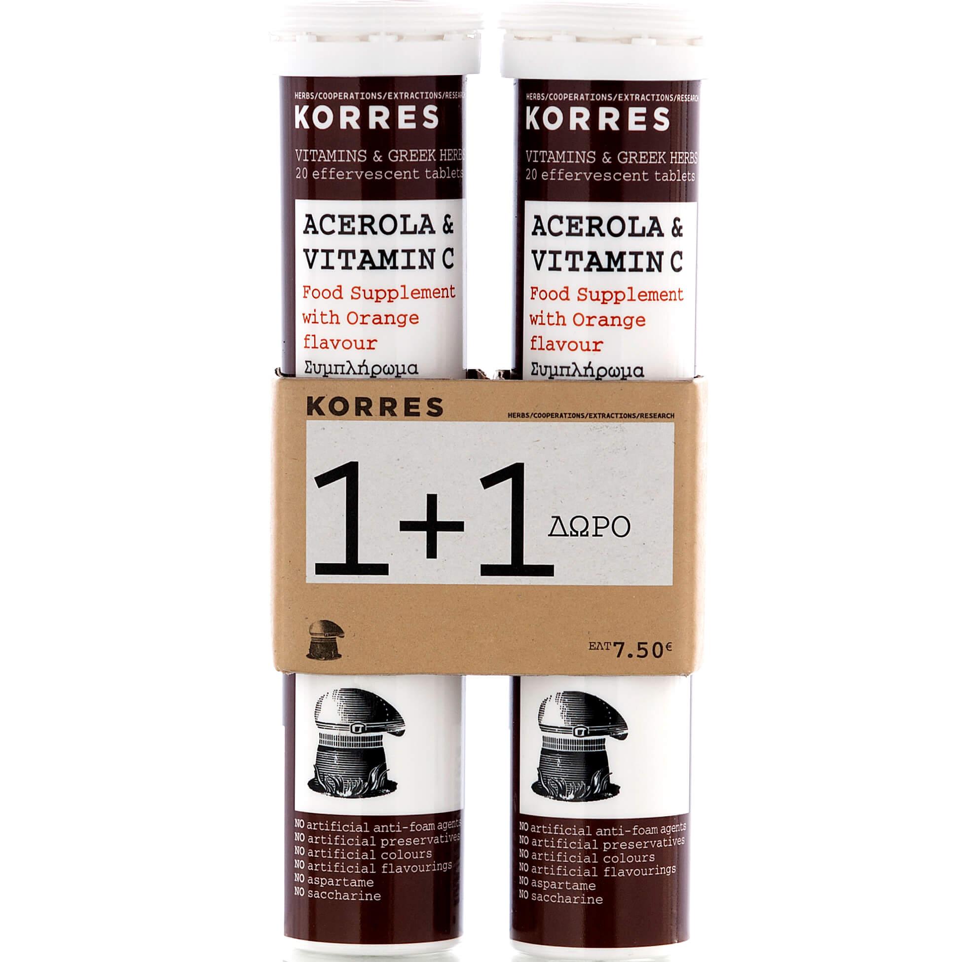 Korres Acerola & Vitamin C, Βιταμίνες 2×20 Αναβράζοντα Δισκία 1+1 Δώρο