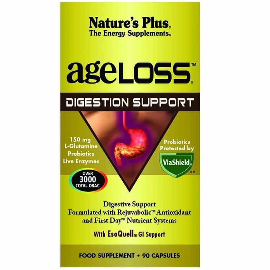 Natures Plus Ageloss Digestion Support Συμπλήρωμα Διατροφής για την Υποστήριξητου Πεπτικού Συστήματος90 Κάψουλες