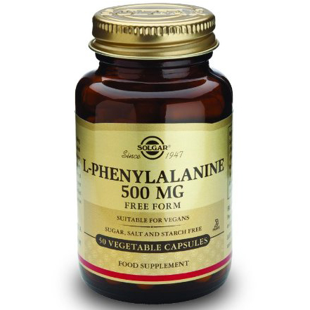 Solgar L-Phenylalanine 500mg Συμπλήρωμα Διατροφής που Βοηθά σε Περιπτώσεις Κατάθλιψης & Απαλύνει το Πόνο 50veg.caps