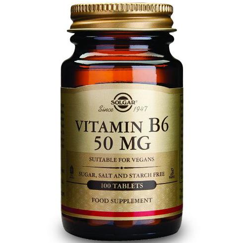 Vitamin B6 100tabs Solgar,Συμπλήρωμα Διατροφής για την Ομαλή Λειτουργία του Εγκεφάλου και του ΝευρικούΣυστήματος – 50mg