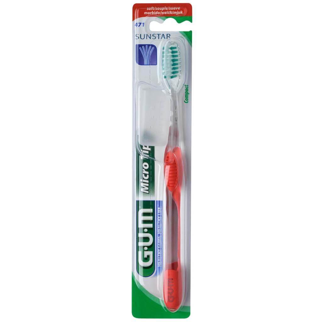 Gum MicroTip Compact Soft Οδοντόβουρτσα με Θήκη Προστασίας (471) – κόκκινο