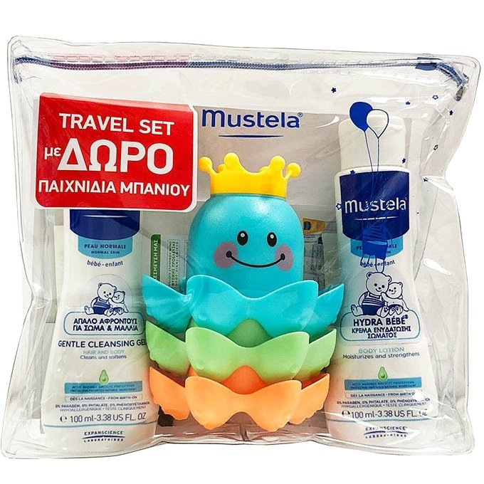 Mustela Πακέτο Προσφοράς Travel Kit Gentle Cleansing Gel 100ml & Hydra Bebe Body Lotion 100ml & Παιχνιδια Μπανιου