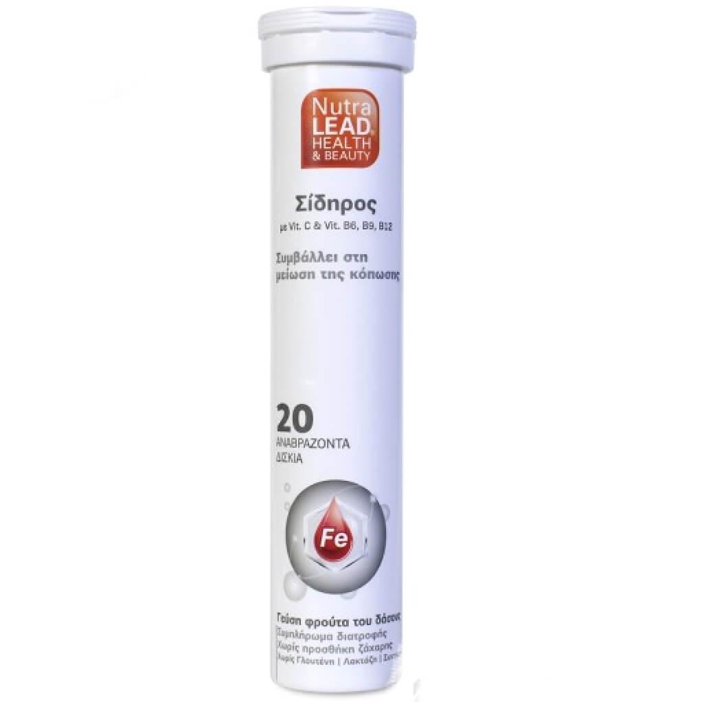 NutraLead Σίδηρος Συμπλήρωμα Διατροφήςμε Βιταμίνη C, Β6, B9 &B12για τη ΜείωσηΚόπωσηςμε Γεύση Φρούτα του Δάσους20 Eff. Tabs 24051