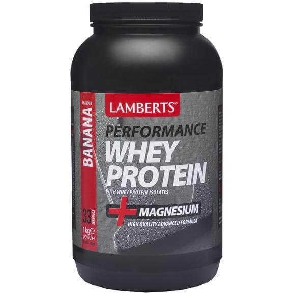Lamberts WheyProteinΠρωτεΐνησε Σκόνη Ορού Γάλακτος, με Υπέροχη Γεύση και Προσθήκη Μαγνησίου1000mg – Banana