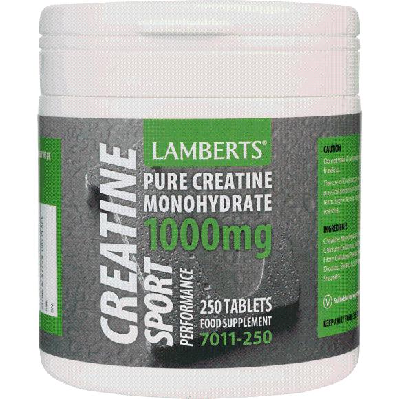 Lamberts CreatineΣυμπλήρωμα Διατροφής με Καθαρή Μονουδρική Κρεατίνη γιαΜεγάλο Εύρος Ειδών Σωματικής Άσκησης1000mg 250tabs