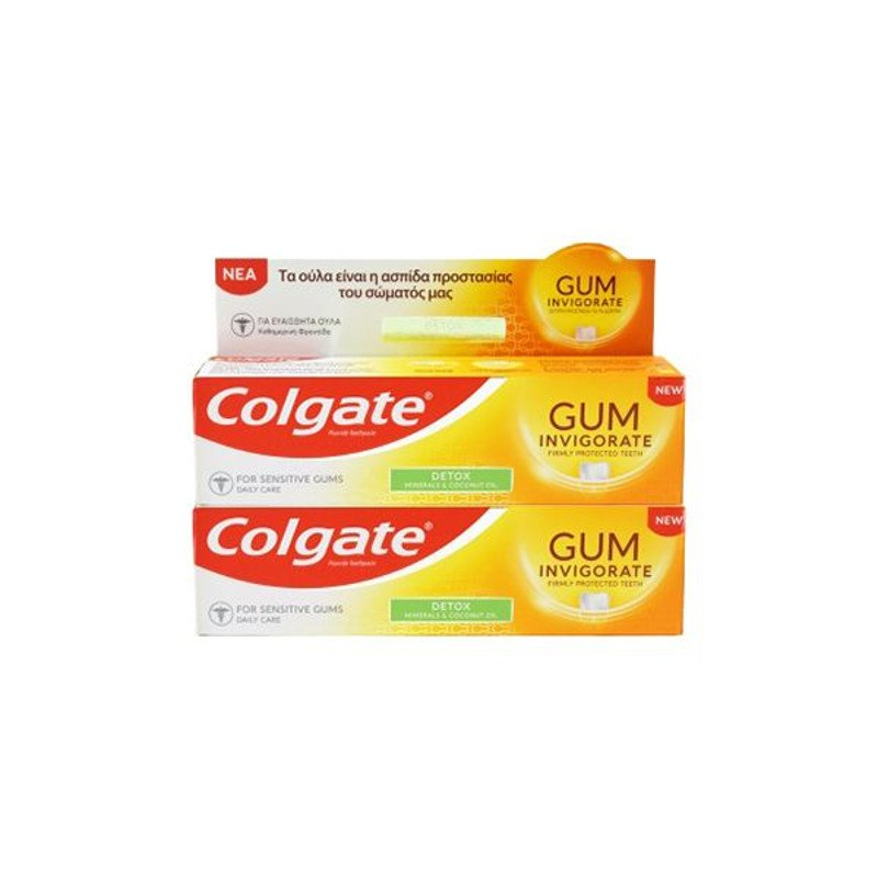 Colgate Promo Gum Invigorate Revitalise Φθοριούχος Οδοντόκρεμα για Καθημερινή Στοματική Υγιεινή 2×75 ml