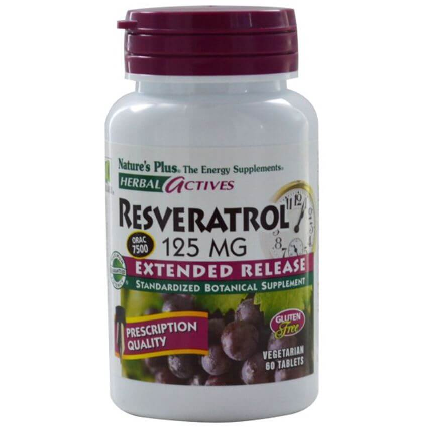 Natures Plus Resveratrol 125 mg Extended Release Συμπλήρωμα Διατροφής με Ισχυρή Αντιοξειδωτική ΔράσηTablets