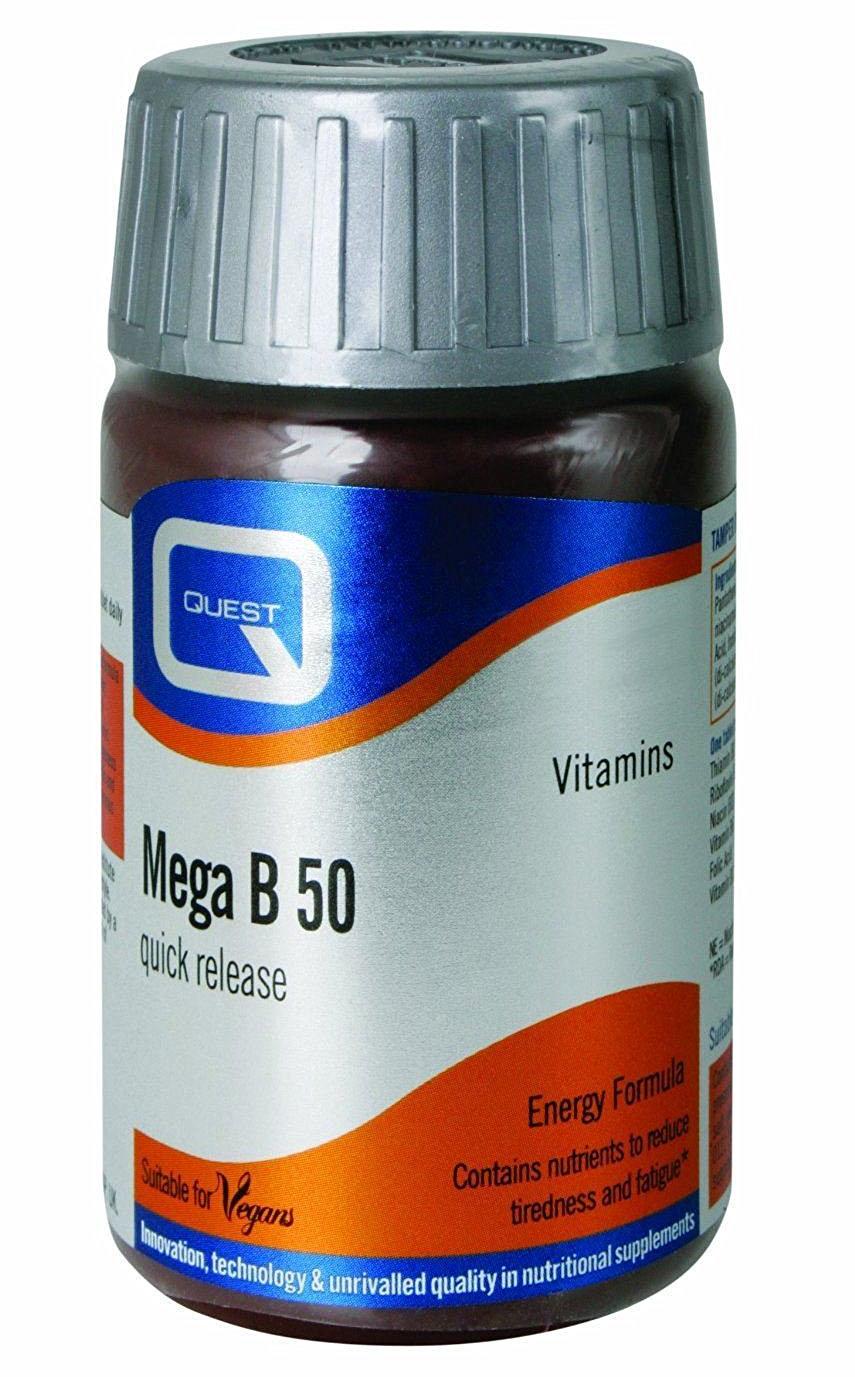 Quest Mega B 50 Quick Release Συμπλήρωμα Διατροφής Ταχείας Αποδέσμευσης για την Υγεία του Νευρικού Συστήματος 30tabs