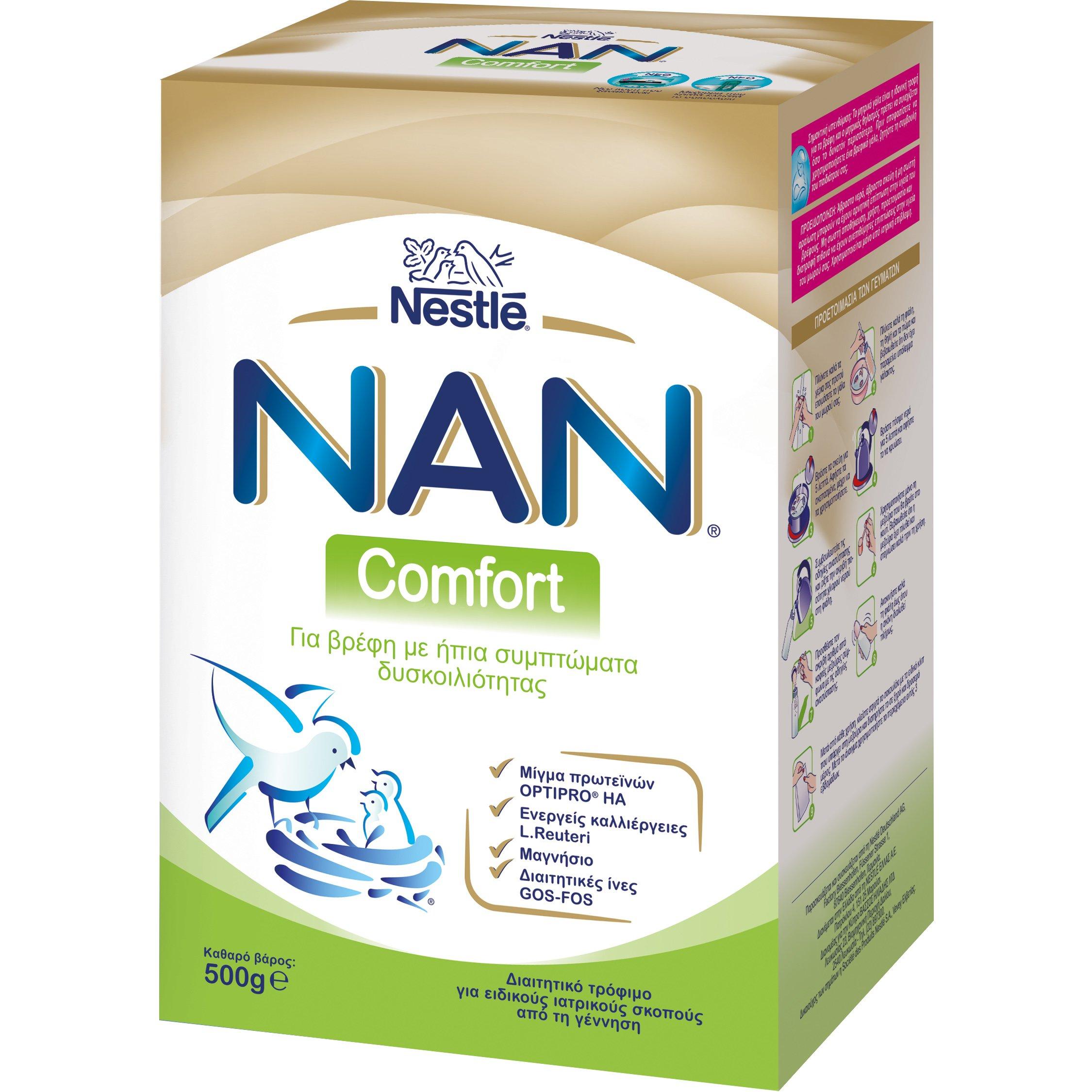 Nestle NAN Comfort Γάλα σε Σκόνη για Βρέφη με Ήπια Συμπτώματα Δυσκοιλιότητας, από την Γέννηση 500gr