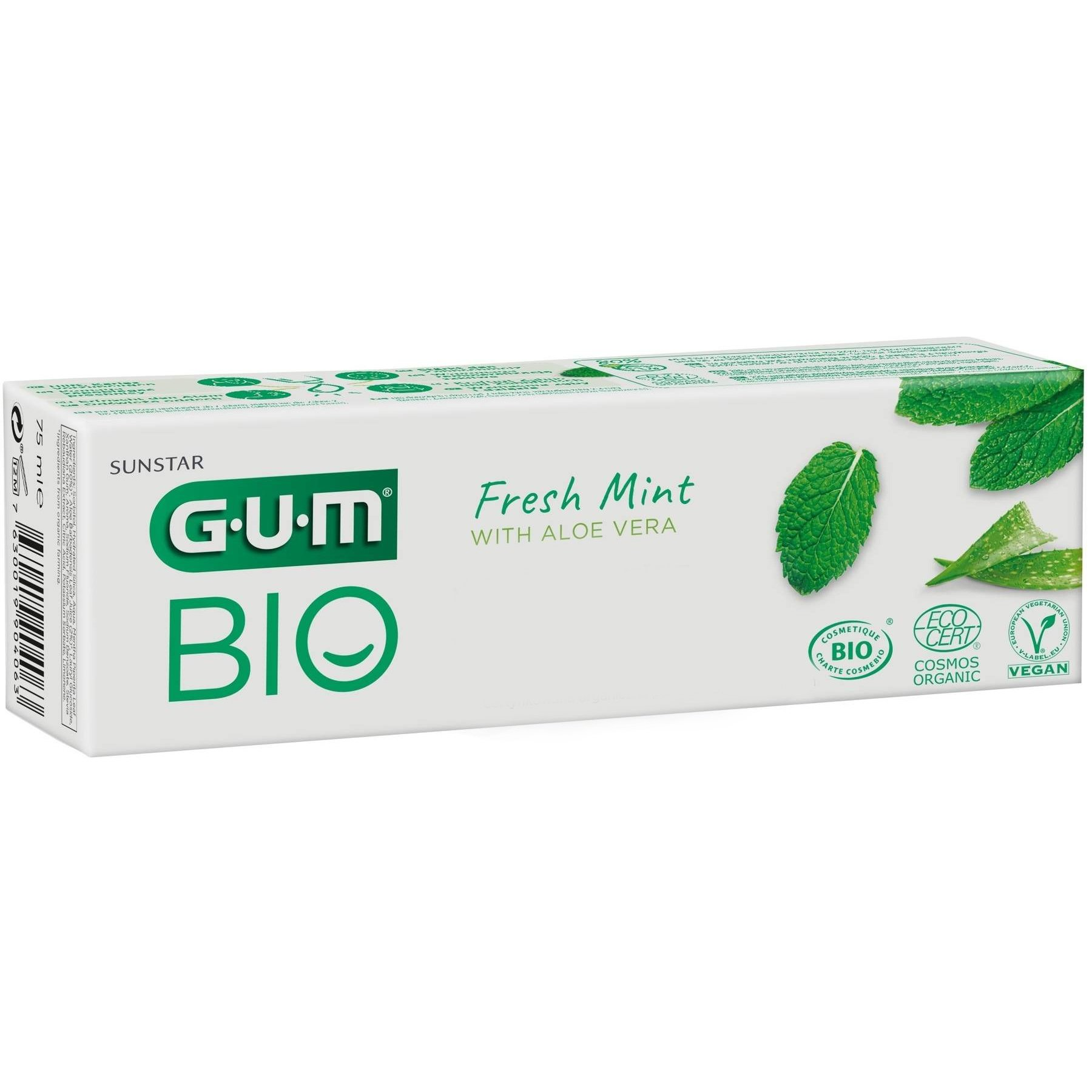 Gum Bio Fresh Mint Toothpaste with Aloe Vera Πιστοποιημένη Οργανική Οδοντόπαστα που Προστατεύει & Ενδυναμώνει Δόντια & Ούλα 75ml