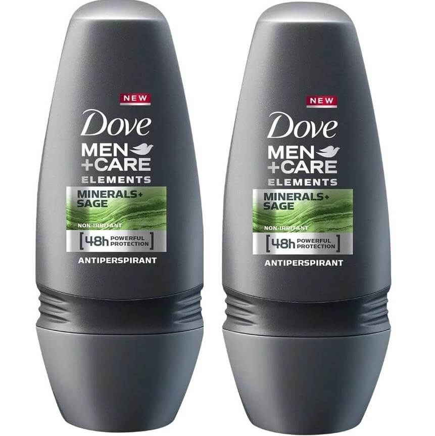 Dove Men Αποσμητικό Roll on Minerals Sage 48H Powerfull Protection 2 x 50ml Πακέτο 1+1